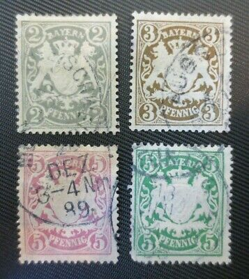 Germany Bavaria 1888-1900 SC #58, 60, 61 & 62 UH Stamps from Quality Album