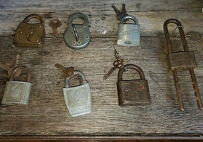 Vintage Padlock Lot With Keys 7 Locks Antique  Slaymaker Yale Reese