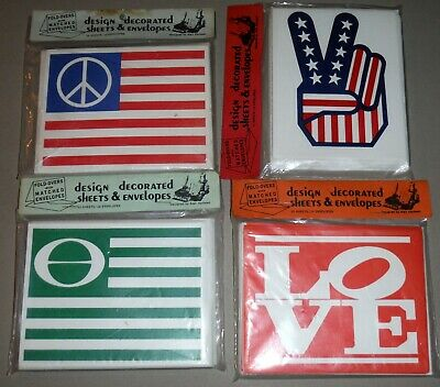 Vintage 1970s 1971 Peace Flag Love & Ecology Lot of 4 Packs of Note Cards