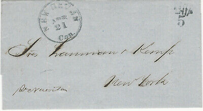 Puerto Rico, 1862 Stampless Cover, with Letter, New Haven, and  SHIP 5 Markings