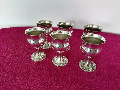 "Vintage Silver Plated Wine Goblets by "" Ianthe of England "" Set of Six."