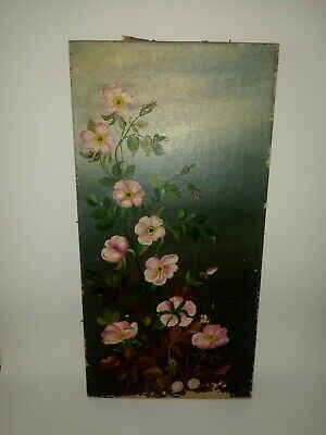 Antique 19th Century Oil Painting of Flowers on Canvas Unsigned