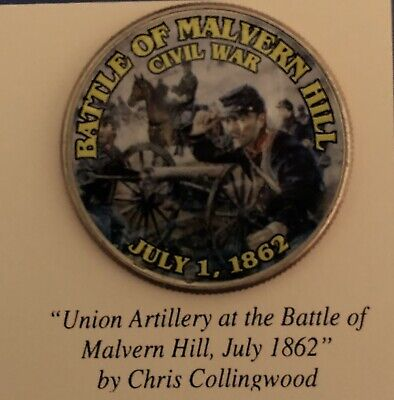 Color Photo Enhanced Civil War Battle Of Malvern Hill Commemorative Bu 50C Coin