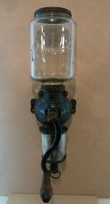 Vintage Antique ARCADE Crystal No. 3 COFFEE GRINDER Wall Mount Cast Iron & Glass