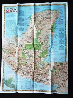 "National Geographic Map 1989 - Land of the Maya "" A Traveler's Map""  (M37)"
