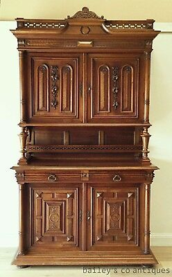 Antique French Sideboard Buffet Walnut Heavily Carved Rare - QN102