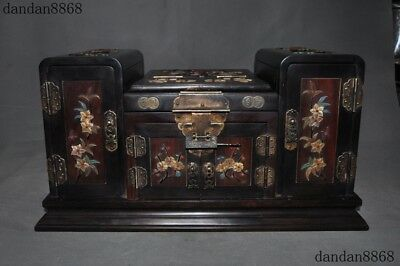 Old Chinese Redwood wood Shoushan Stone Shell Lapis lazuli Dresser Storage box
