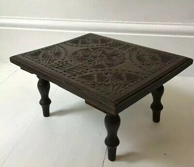 Vintage Antique Carved Oak Stool Stand Or Table Foot Stool