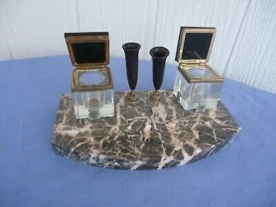 vintage art deco marble desk set inkwell pen holders black glass bakelite french