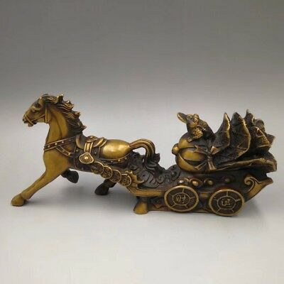 Chinese Old Brass handmade Horse Chinese cabbage wealth Home decoration YR