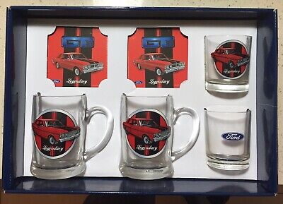 NEW Ford GT Glass Coaster Box Set Steins Whisky Glass Drinkware Bar Ware