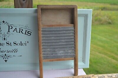 "VINTAGE SMALL WOOD /METAL CHILDRENS WASHBOARD LINGERIE  CLOTHES 14"" x 7.5"""