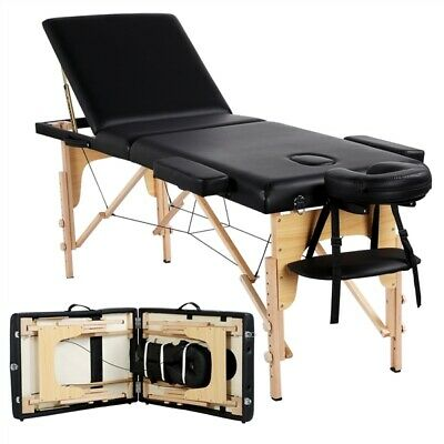 "84"" L Massage Table 3 Fold Adjustable Portable Facial Spa Salon Bed Tattoo Black"
