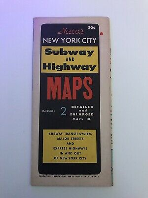 VTG Rare Nester's New York City Subway And Highway MAPS Includes 2 Maps COLOR