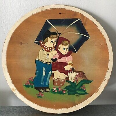Vintage Primitive Carved Painted Dutch Children Wooden Plate Wall Hanging RARE