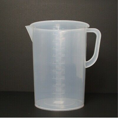 5-Liter/5000ml Polypropylene Beaker w/ Handle Spout, 250ml Graduations for Labs