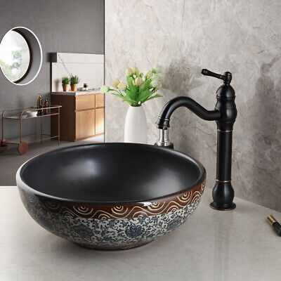 Bathroom Vessel Sink Deck Mounted Round Basin Bowl ORB 1 Handle Mixer Tap Faucet