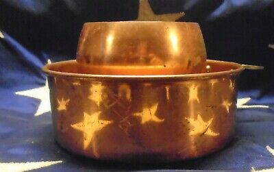 2 Vintage Taurus Portugal Copper Kitchen Dutch Oven Cake Pan Brass Handle & Cup