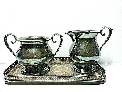 Vintage Sheffield Silver Co EPC 60X Silverplate Cream & Sugar Set Tray 9-80