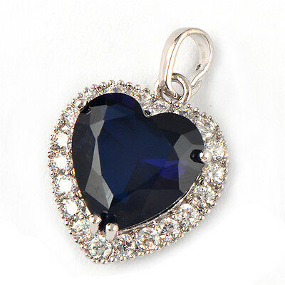 14K White Gold Filled Womens Fashion Blue Sapphire Heart Clear Crystal Pendant