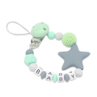 Baby Pacifier Clip Chain Cute Five Star Silicone Beads Teething Pacifier Cl T2M8