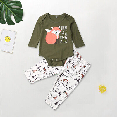 US 2PCS Newborn Toddler Kids Baby Boy Girl Clothes Fox Tops Shirts Pants Outfit