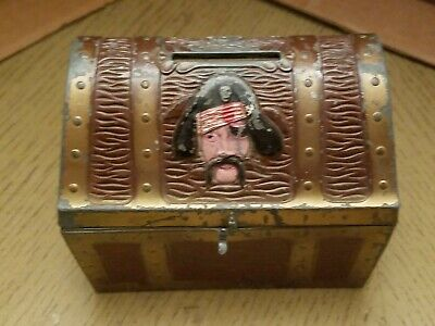 VINTAGE 1960s EJ Kahn Metal Toy Treasure Chest Coin Bank Chicago Illinois Pirate