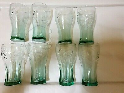 8 x Green Tinged Coca Cola Glasses 100 Years Of The Coca Cola Bottle Special Ed
