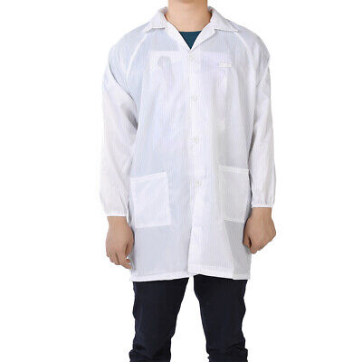 Anti Static Overalls Unisex ESD Lab Coat Button Up XXXL White