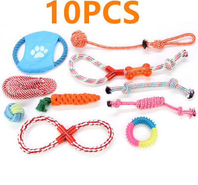 Pack Of 10 Dog Puppy Toy Cotton Rope Teething Chew Playtime And Teeth Cleanin Uk