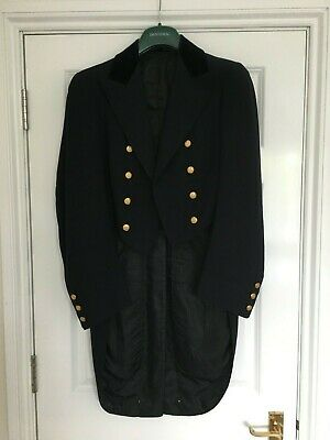 Page Boy Tails Jacket, Very Old, Gold Buttons, Royal Coat of Arms, Navy Blue.
