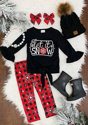 Newborn Baby Girls Christmas Long Sleeve T-shirt Tops + Pants Outfits Clothes US