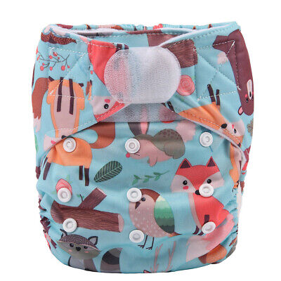 Baby Hook and Loop Pocket Cloth Diaper Nappy Reusable Washable Fox Owl Rabbit