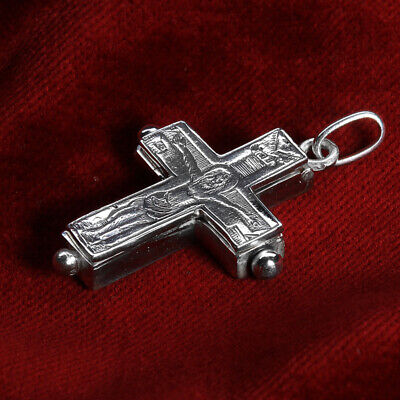 Sterling Silver 925 Greek Christian Orthodox Byzantine Crucifix Reliquary Cross
