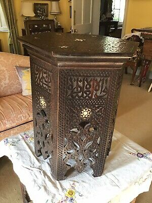Large Antique C19th Turkish Ottoman  Kufic Hexagonal Inlaid Table 46cm Tall
