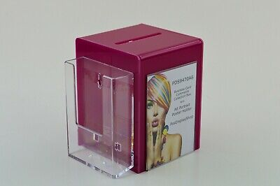 Business Card Collection Suggestion Box with Leaflet Holder PDS9470A6 Dark Pink