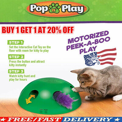 Automatic Pop N' Play Interactive Motion Cat Toy Mouse Tease Electronic Pet Toy-