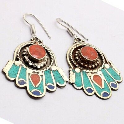 """ZG2951 Red Coral, Turquoise, Lapis 925 Silver Plated Nepal Tribal Earrings 2.5"""""""