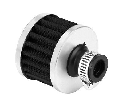 Protective Chrome Breather Filter Universal Fitment 10mm - 15mm - Black