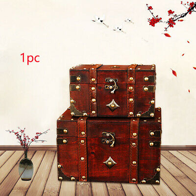 Safe Wooden Bedroom Stationery Vintage Toys Lockable Storage Box Antique Jewelry