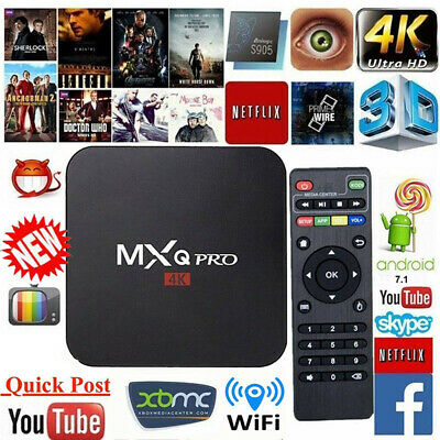 MXQ Pro 4K Ultra HD 3D 64Bit Wifi Android 7.1 Quad Core Smart TV Box+KODI 18 UK.