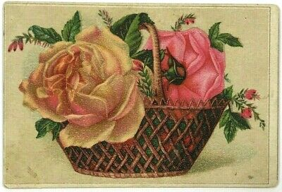 Mrs. Mary J Hayden Florist Syracuse New York NY Victorian Trade Card Rose Basket