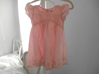 EUC Old Navy Dress 12-18 Months  Pink Eyelet Cotton Girls Barely Used Condition