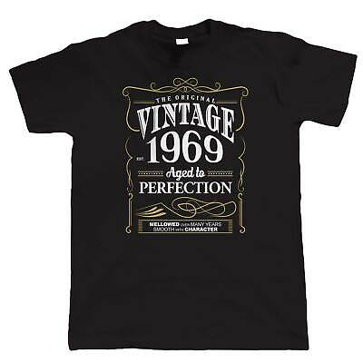 Vintage 1969 Aged To Perfection, Mens T Shirt - 50th Birthday Year Gift Dad Him