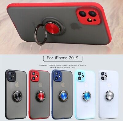 iPhone 11 Pro Xs Max XR 8 7 6 Plus Case Magnetic TPU Ring Matte Holder Stand