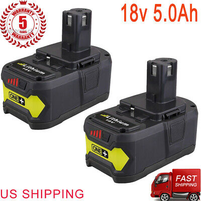 New 18V 5.0Ah P108 Lithium Battery for Ryobi 18V ONE+ Plus Battery Tool 2 Packs