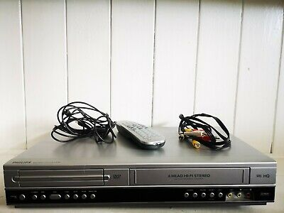 Philips DVD VCR Player Recorder DVP3055V Combi Combo Silver With Remote Control