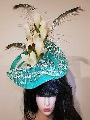 Fascinator hatinator hat races wedding costume formal green - one off