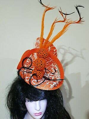 Fascinator hatinator hat races wedding costume formal orange - one off