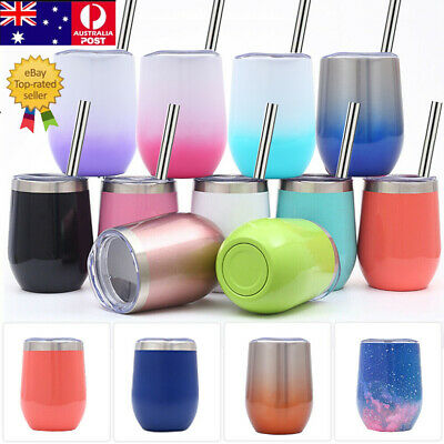 Wine Glasses Double Wall Tumbler Bottle Vacuum Insulated Cup+Lids | Wine Drinks